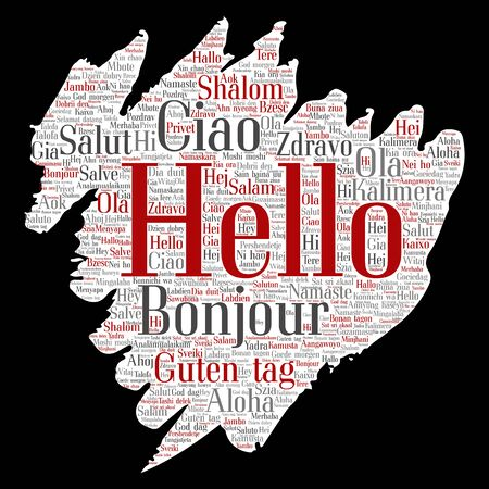 meet and greet: Vector concept or conceptual brush or paper hello or greeting international tourism word cloud in different languages or multilingual. Collage of world, foreign, worldwide travel, translate, vacation