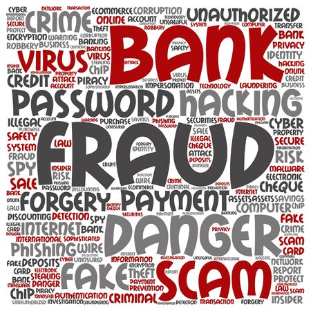 Vector Concept Or Conceptual Bank Fraud Payment Scam Danger Word Royalty Free Cliparts Vectors And Stock Illustration Image 85066407