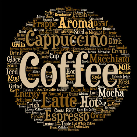 macchiato: Vector concept conceptual creative hot coffee, cappuccino or espresso round abstract word cloud isolated on background, metaphor to morning, restaurant, italian, beverage, cafeteria break energy taste