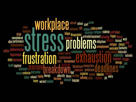 Vector conceptual mental stress at workplace or job word cloud isolated on background Illustration