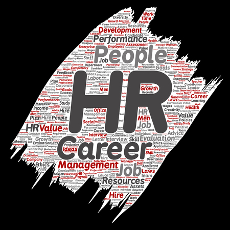manpower: Vector concept conceptual hr or human resources career management brush or paper word cloud isolated background. Collage of workplace, development, hiring success, competence goal, corporate or job