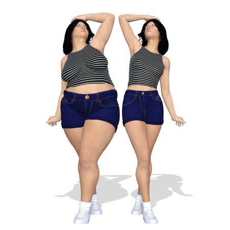 Grossesse en matières grasses surpondée femelle obèse vs corps en forme de corps mince après perte de poids ou alimentation avec muscles jeune femme mince isolée. Une obésité physique, nutritionnelle ou fatale, forme de santé, illustration 3D Banque d'images - 85066632