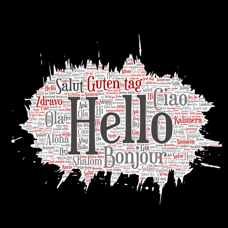 meet and greet: Concept or conceptual brush or paper hello or greeting international tourism word cloud in different languages or multilingual. Collage of world, foreign, worldwide travel, translate, vacation