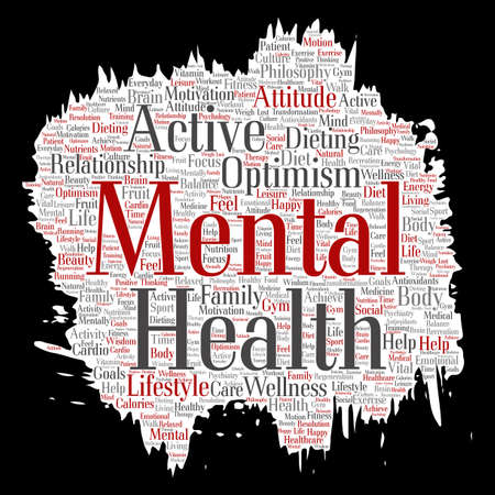 regeneration: Conceptual mental health or positive thinking paint brush paper word cloud isolated background. Collage of optimism, psychology, mind healthcare, thinking, attitude balance or motivation text