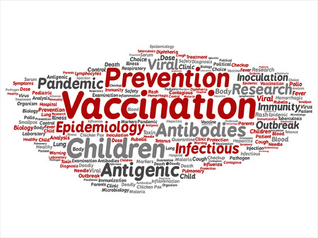 infected: Vector concept or conceptual children vaccination or viral prevention word cloud isolated on background Illustration