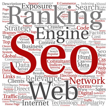 html: Concept or conceptual search engine optimization, seo abstract word cloud isolated