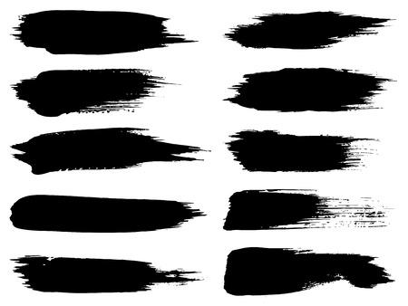 Vectorinzameling van de artistieke grungy zwarte verfhand - gemaakte creatieve die reeks van de borstelslag op witte achtergrond wordt geïsoleerd. Een groep abstracte grungeschetsen voor ontwerponderwijs of grafische kunstdecoratie Stock Illustratie