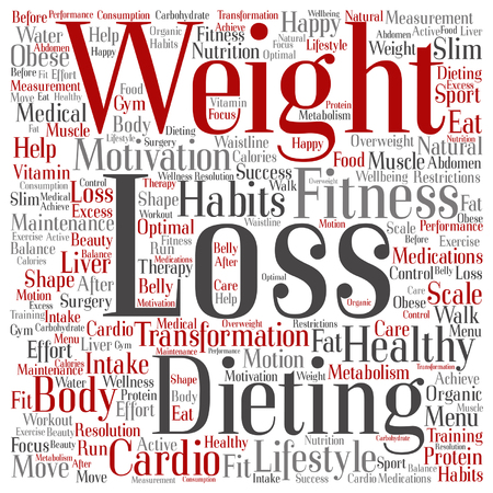 Vector concept or conceptual weight loss healthy dieting transformation word cloud isolated on background