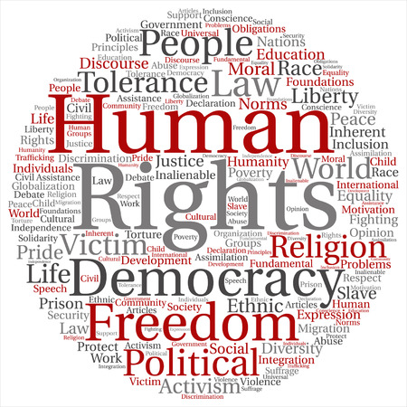 Vector concept or conceptual human rights political freedom or democracy target word cloud isolated on background metaphor to humanity world tolerance, law principles, people justice discrimination