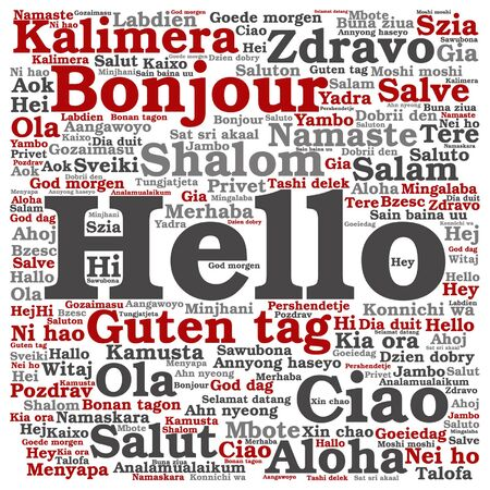 multilingual: Vector conceptual abstract hello or greeting international word cloud in different languages