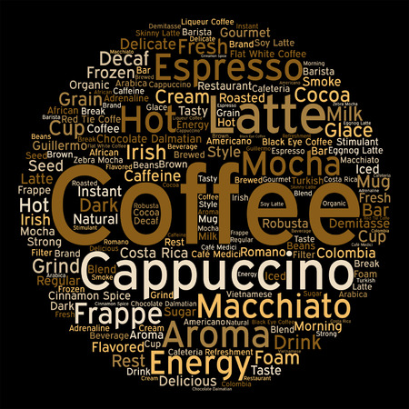 Vector concept conceptual creative hot coffee, cappuccino or espresso abstract word cloud isolated