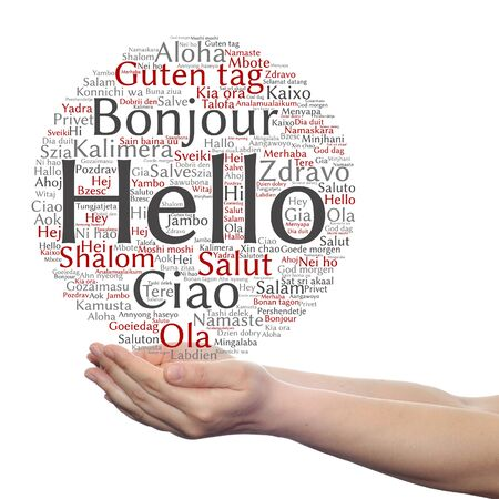 meet and greet: Concept or conceptual abstract hello or greeting international word cloud on hands in different languages