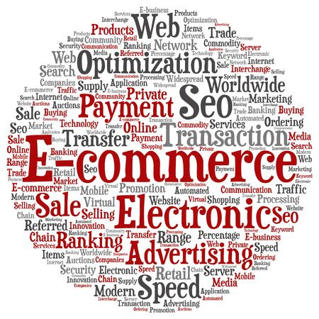 b2b: Concept or conceptual E-commerce electronic sales target word cloud isolated on background metaphor to seo, optimization, transaction, web advertising, e-business, technology, worldwide supply Stock Photo