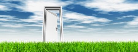 Conceptual white door in green grass with sky background banner