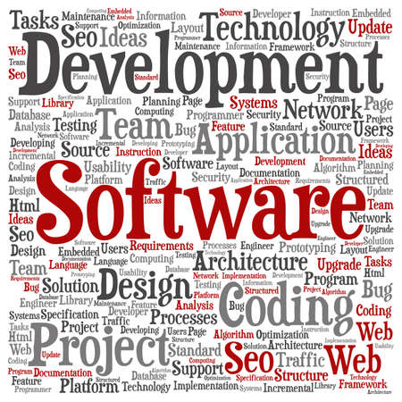 html: Concept or conceptual software development project coding technology word cloud isolated on background