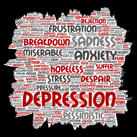 Conceptual depression or mental emotional disorder problem paint brush or paper word cloud isolated background. Collage of anxiety sadness, negative sad, despair, unhappy, frustration symptom Stock Photo