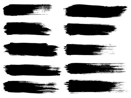 芸術的な汚い黒ペイント手作られた創造的なブラシ ストロークのベクター コレクションに分離の白い背景を設定します。抽象的なグランジ デザイ