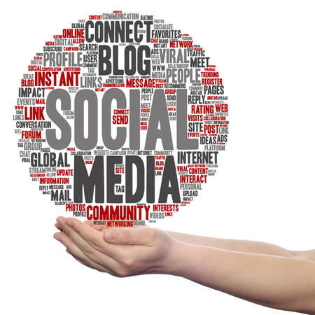 Concept or conceptual social media marketing abstract word cloud in hands isolated