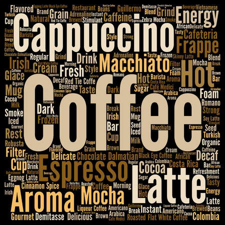 macchiato: Concept conceptual creative hot coffee, cappuccino or espresso abstract word cloud isolated