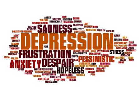 Conceptual depression or mental emotional disorder abstract word cloud isolated Stock Photo