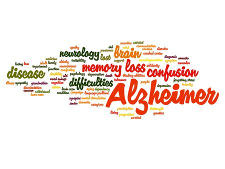 Conceptual Alzheimer`s disease symtoms abstract word cloud isolated