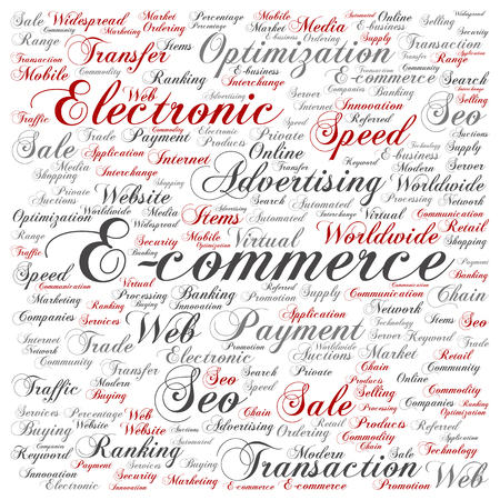 electronic background: Concept or conceptual E-commerce electronic sale square word cloud isolated background. Collage of seo optimization transaction, web advertising, e-business, technology, worldwide supply text