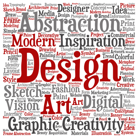 Vector concept conceptual creativity art graphic design visual word cloud isolated on background Illustration