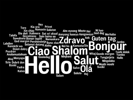Vector conceptual abstract hello or greeting international word cloud in different languages