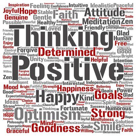 Positive thinking word cloud Illustration