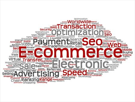 Vector concept or conceptual E-commerce electronic sale word cloud isolated on background Illustration