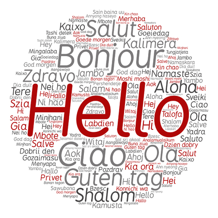 multilingual: Concept or conceptual abstract hello or greeting international word cloud in different languages or multilingual metaphor to world, foreign, worldwide, travel, translate, vacation or tourism