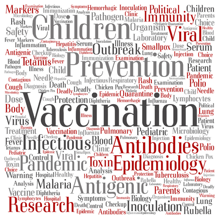 infected: Vaccination related abstract lettering.