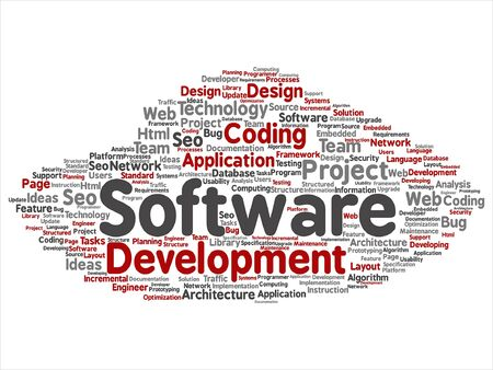html: Software development related abstract lettering. Illustration
