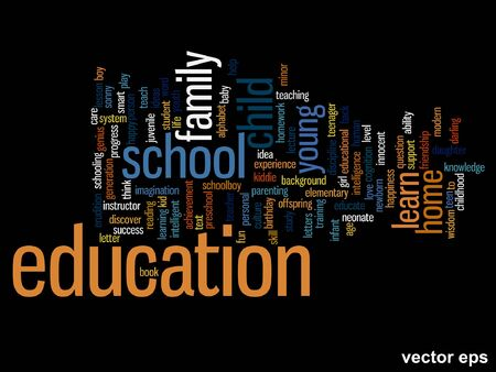 Conceptual education word cloud concept isolated on background Illustration