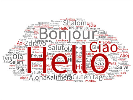 Hello or greeting international word
