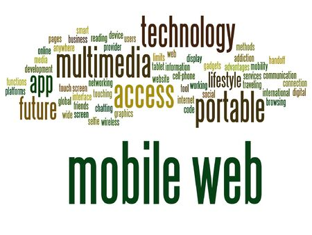 smartphone: Vector concept or conceptual mobile web portable multimedia technology word cloud isolated on background