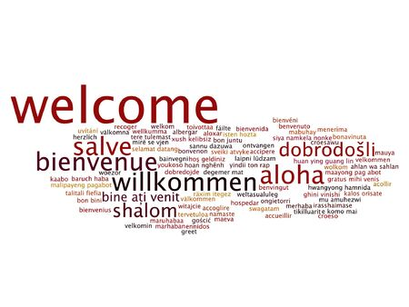 International greeting word cloud in different languages