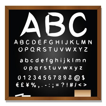 english letters: Vector conceptual set or collection of white handwritten, sketch or scribble fonts isolated on blackboard background
