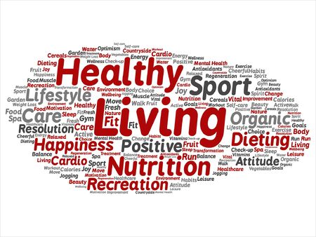 Healthy living positive nutrition or sport word.