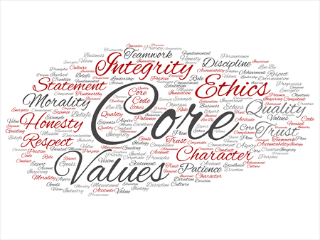 Core values integrity ethics concept word cloud Ilustracja