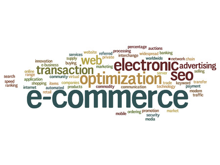 electronic background: Concept or conceptual E-commerce electronic sale word cloud isolated on background