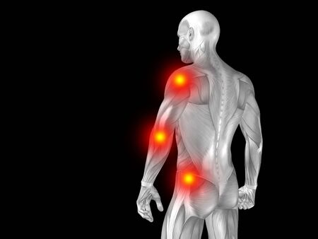 back ache: Conceptual human body anatomy articular pain on isolated on black background
