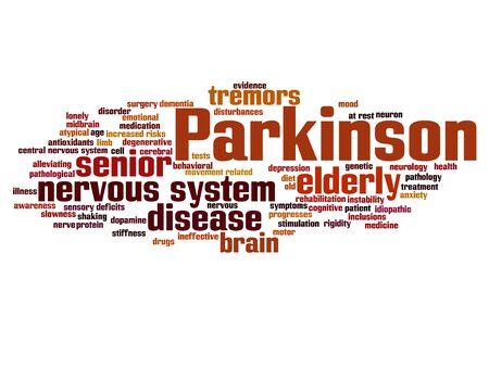 Conceptuele Parkinson's ziekte gezondheidszorg of zenuwstelsel stoornis woord wolk geïsoleerd