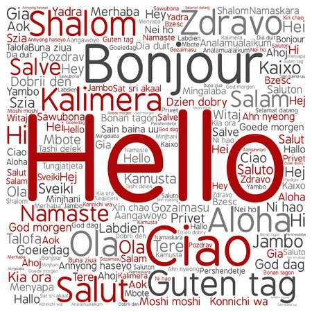 Vector concept or conceptual square hello or greeting international vector vector concept or conceptual square hello or greeting international word cloud in different languages or multilingual metaphor to world foreign m4hsunfo