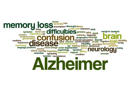 delusional: Conceptual Alzheimer`s disease word cloud isolated.