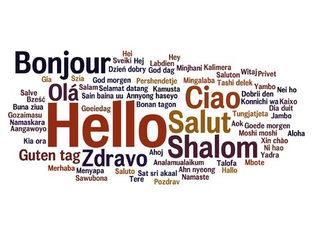 Conceptual abstract hello or greeting international word cloud in different languages Stok Fotoğraf - 85721992