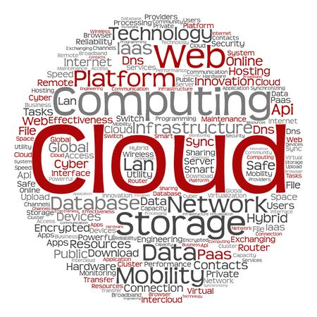 mobile communication: Concept conceptual web cloud computing technology abstract wordcloud isolated Stock Photo