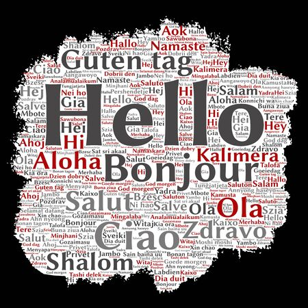 multilingual: Concept or conceptual brush or paper hello or greeting international tourism word cloud in different languages or multilingual. Collage of world, foreign, worldwide travel, translate, vacation