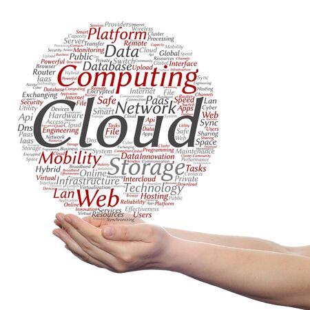 mobile device: Concept conceptual web cloud computing technology wordcloud in hand isolated on background Stock Photo