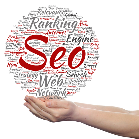 marketing online: Concept or conceptual search engine optimization, seo abstract word cloud in hand isolated